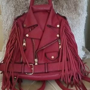 Biker Jacket Backpack Red